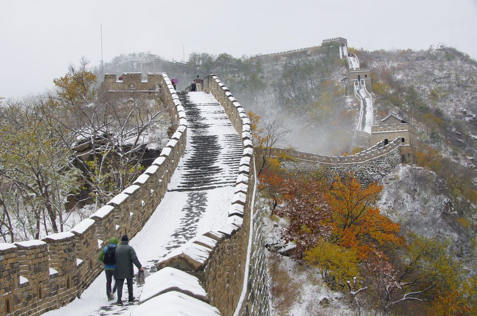 Hikers walking at Great Wall of China during winter