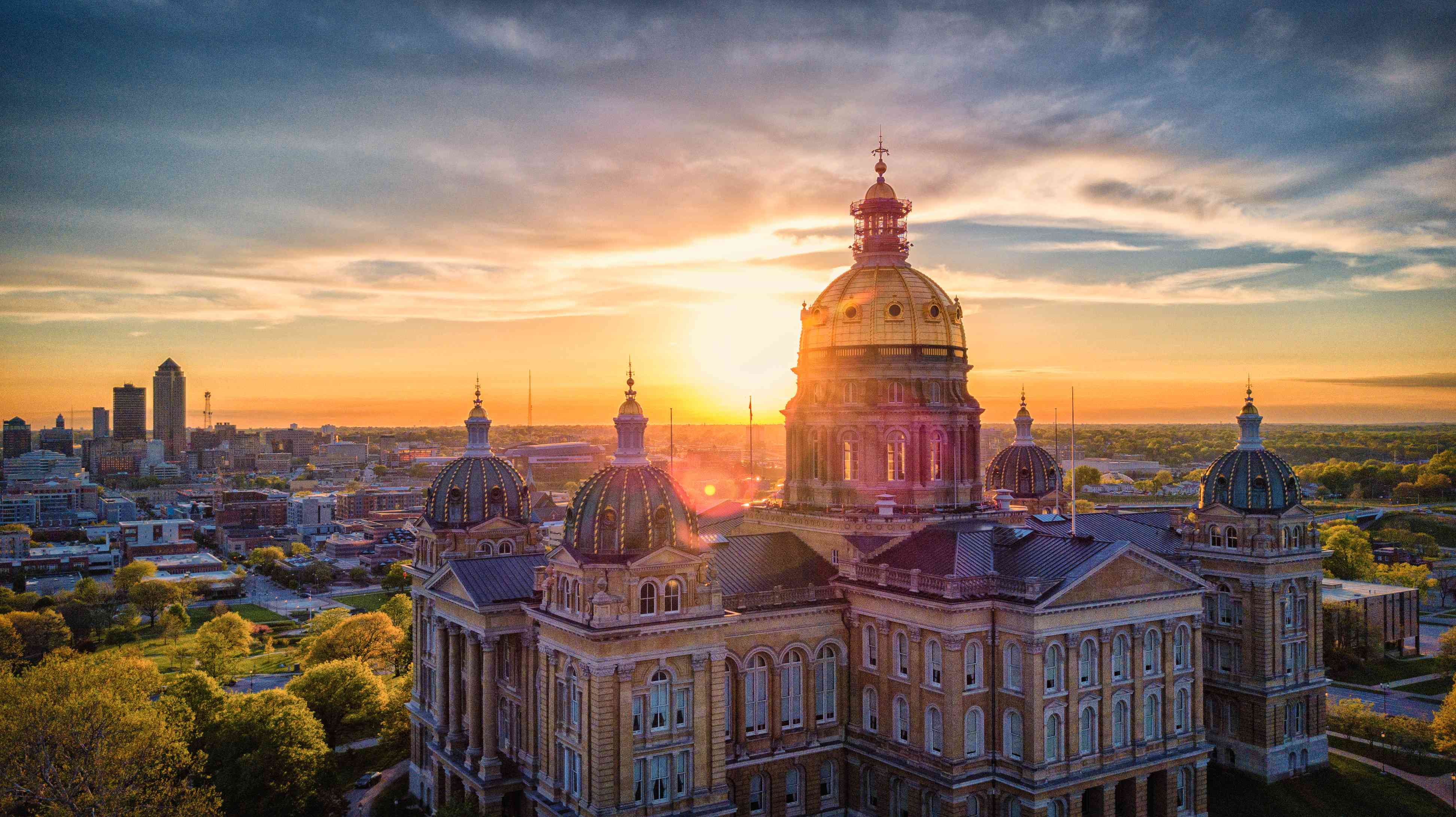 Aerial Photo Of Downtown Des Moines From State Capitol Building