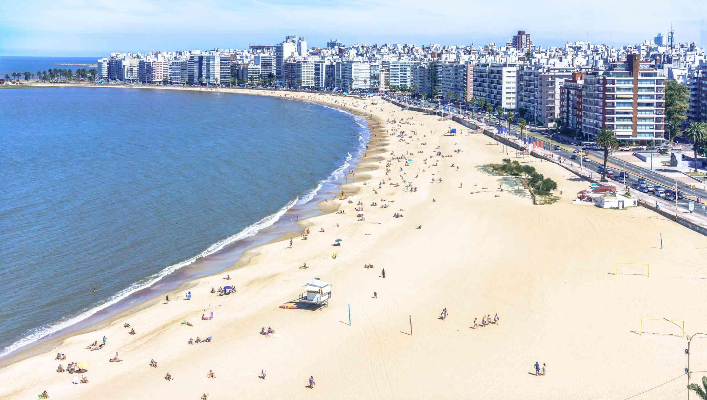 High angle view of Pocitos beach, Montevideo, Uruguay