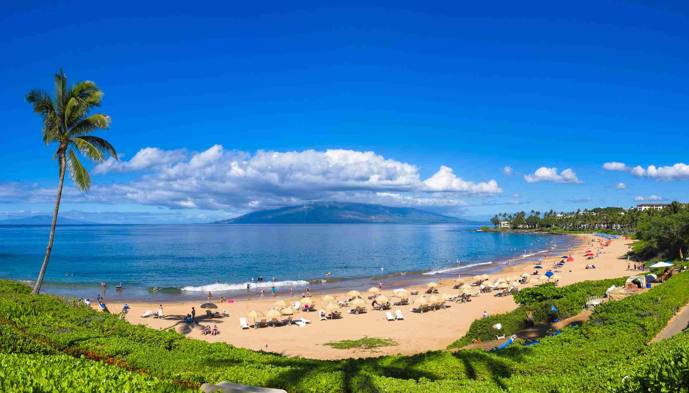 Tourists on Wailea Beach in Wailea Area of Maui, Hawaii.