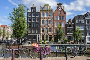 Amsterdam Canal View with Bicycles