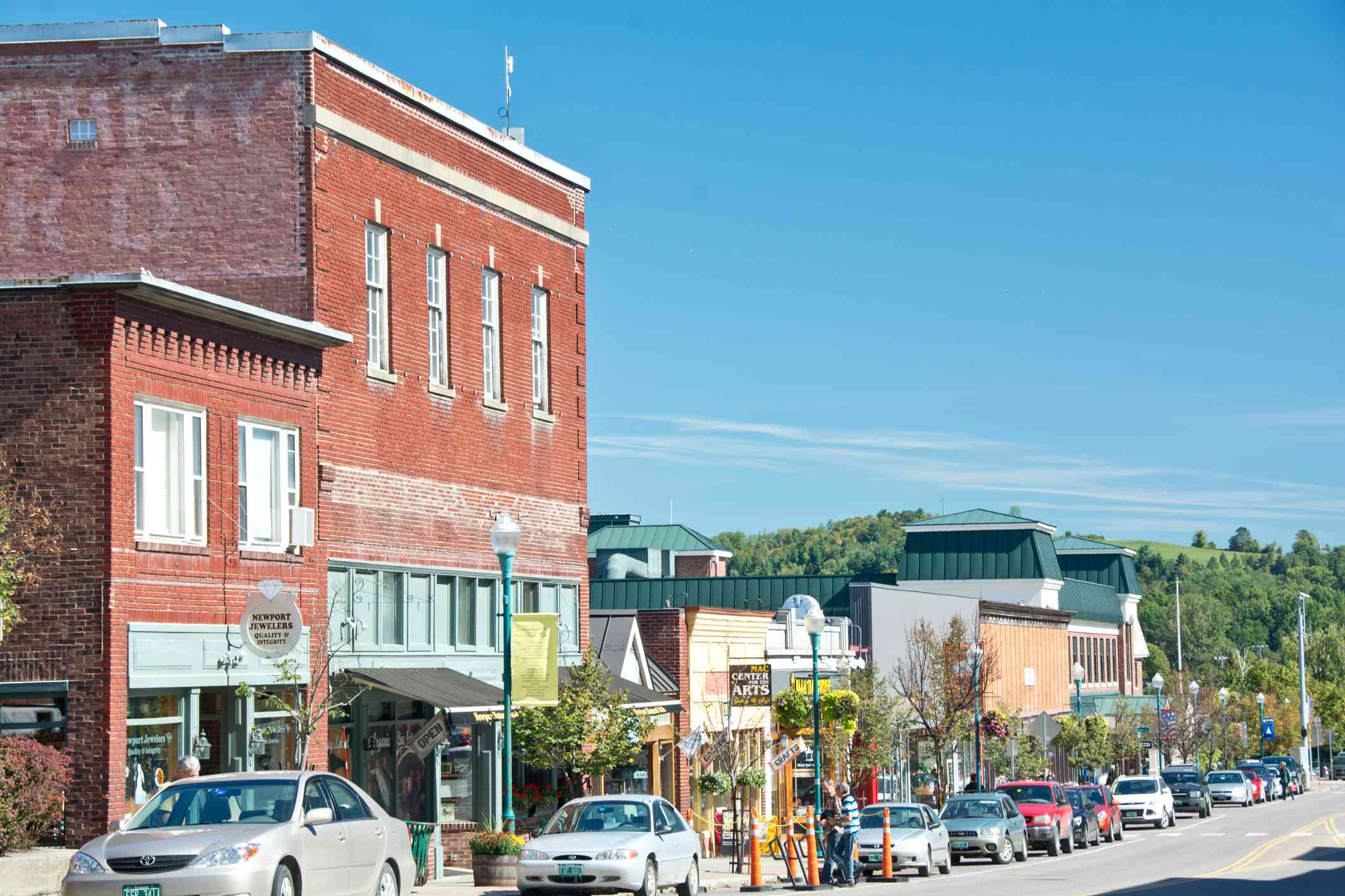 Parked cars along Main Street in Downtown Newport, Vermont