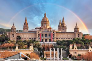 Rainbow over the National Museum of Catalan Art in Barcelona.