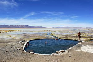 Hot spring in the middle of the Atacama Desert