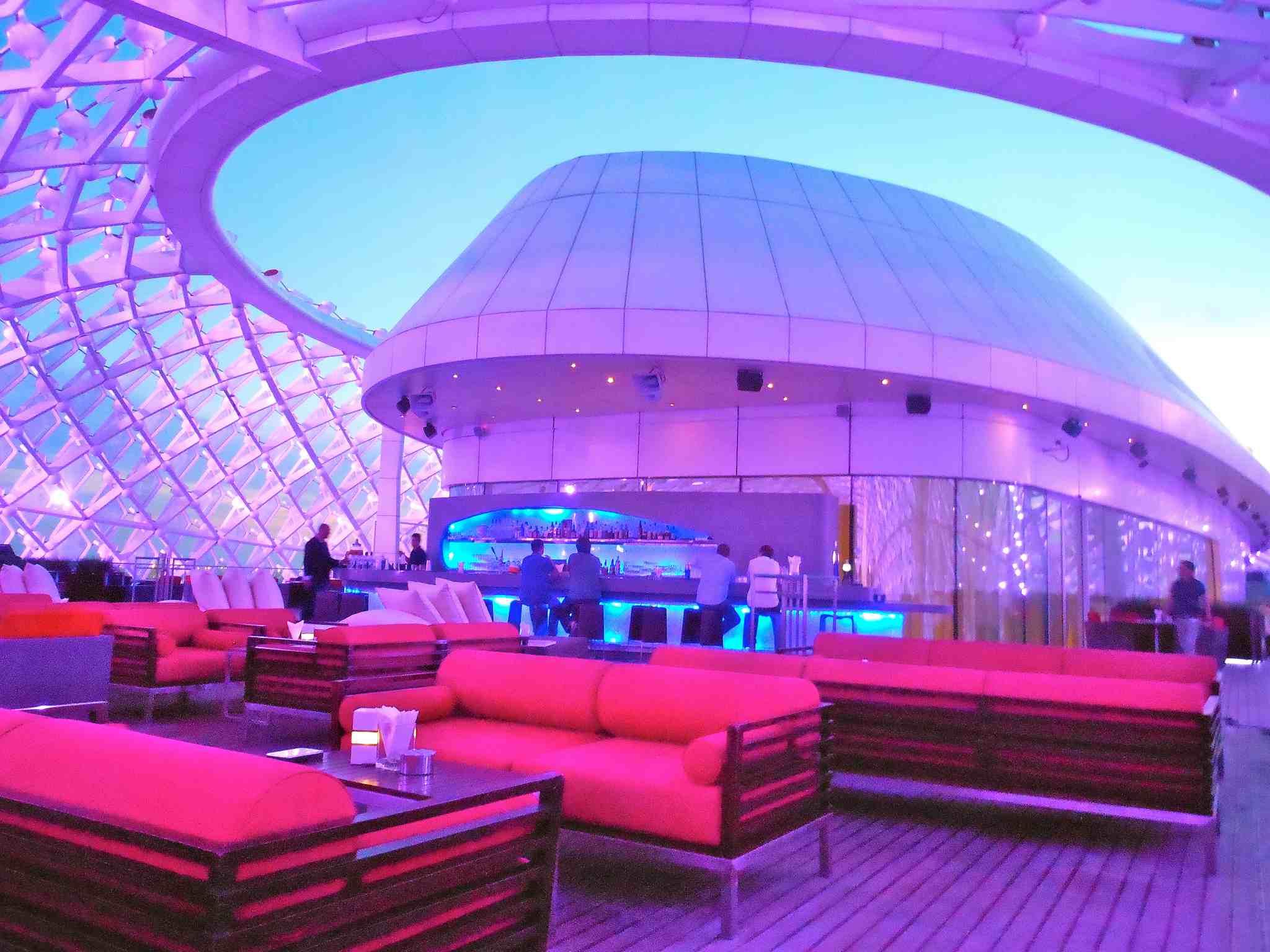 Futuristic lounge area of the Yas Hotel Abu Dhabi