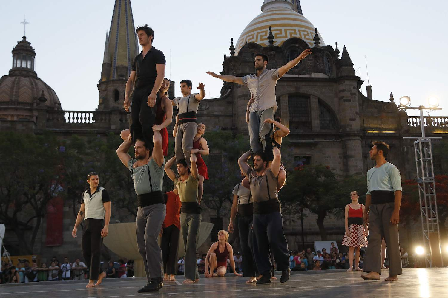 An acrobatic jumps as part of their performance during the Festival Cultural de Mayo (FCM)