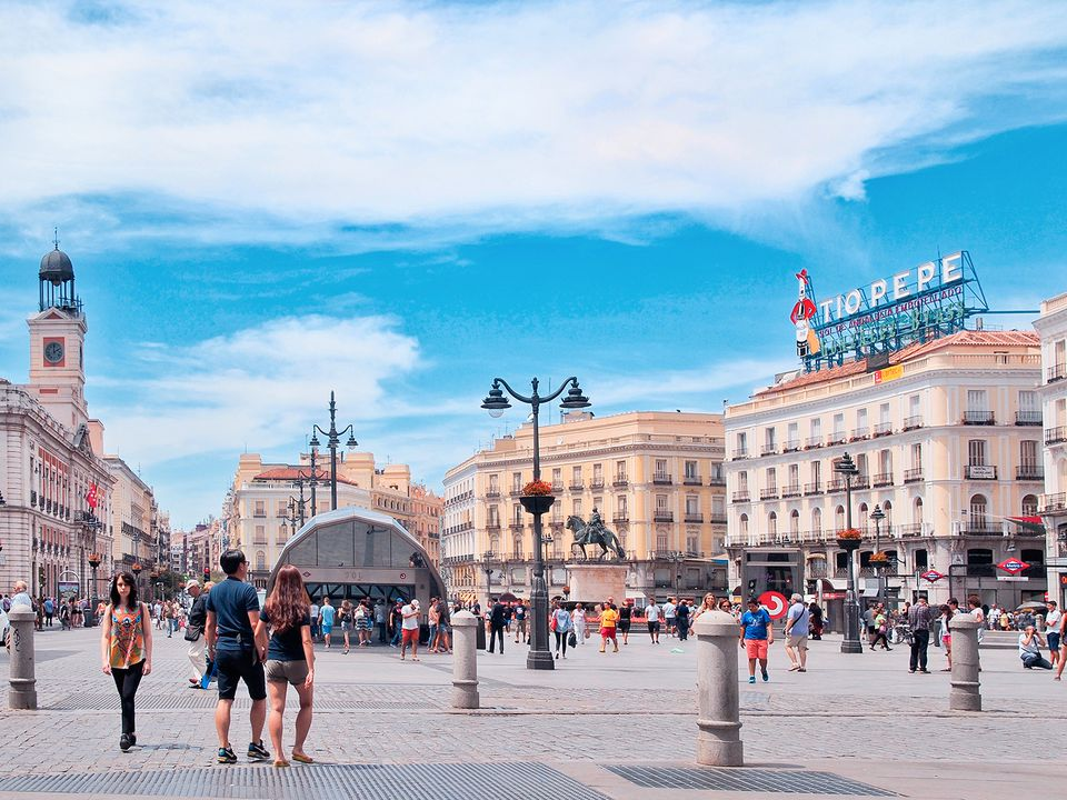 A view of the Puerta del Sol square, one of the most famous places in Madrid.