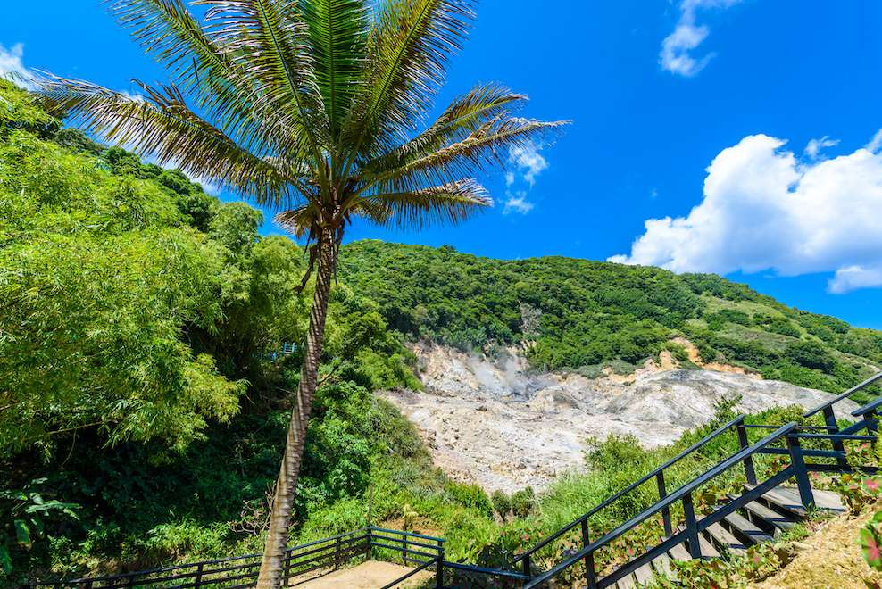 Stairs lead up the trail on La Soufriere volcano