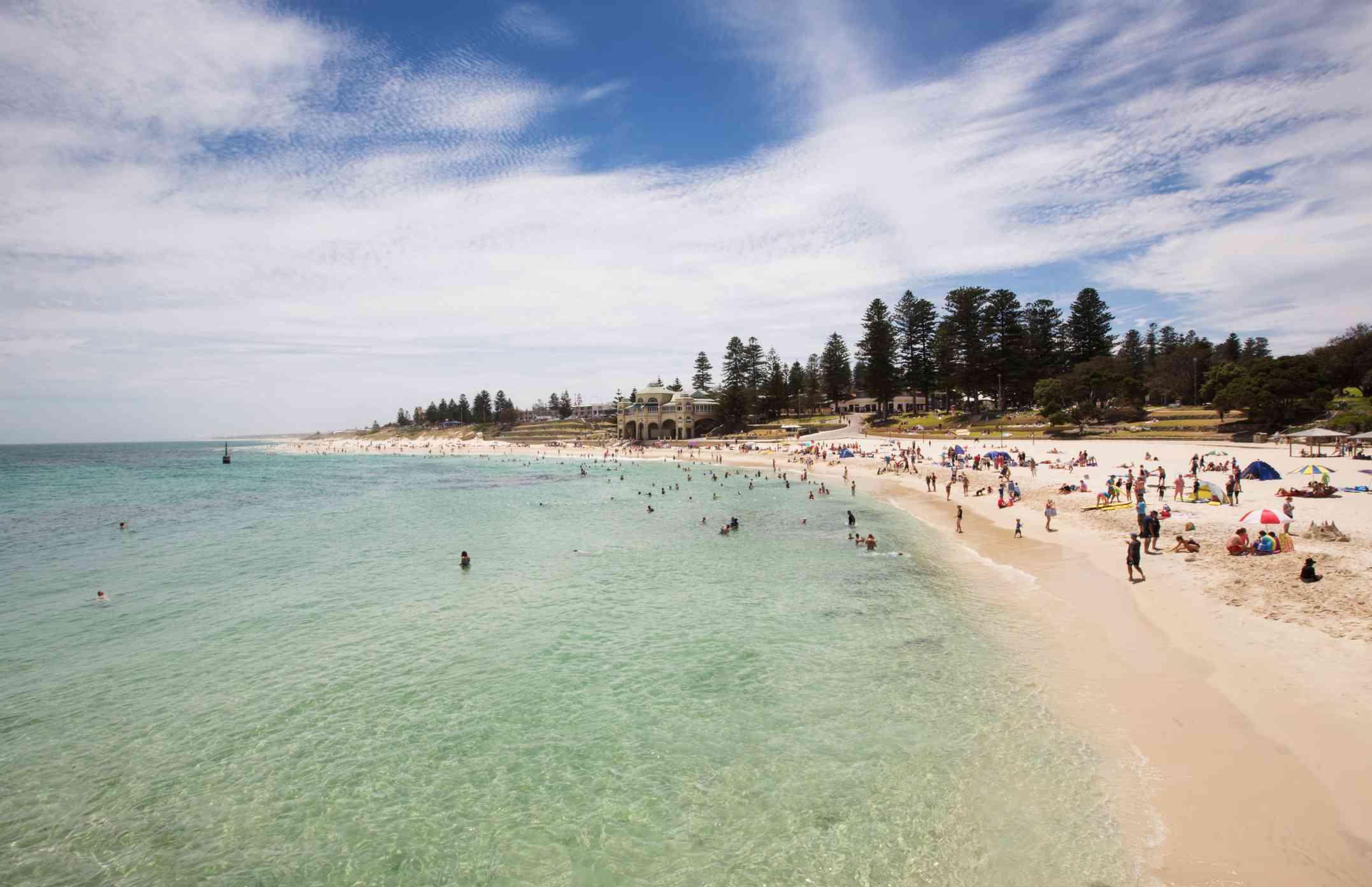 People enjoying Cottesloe Beach