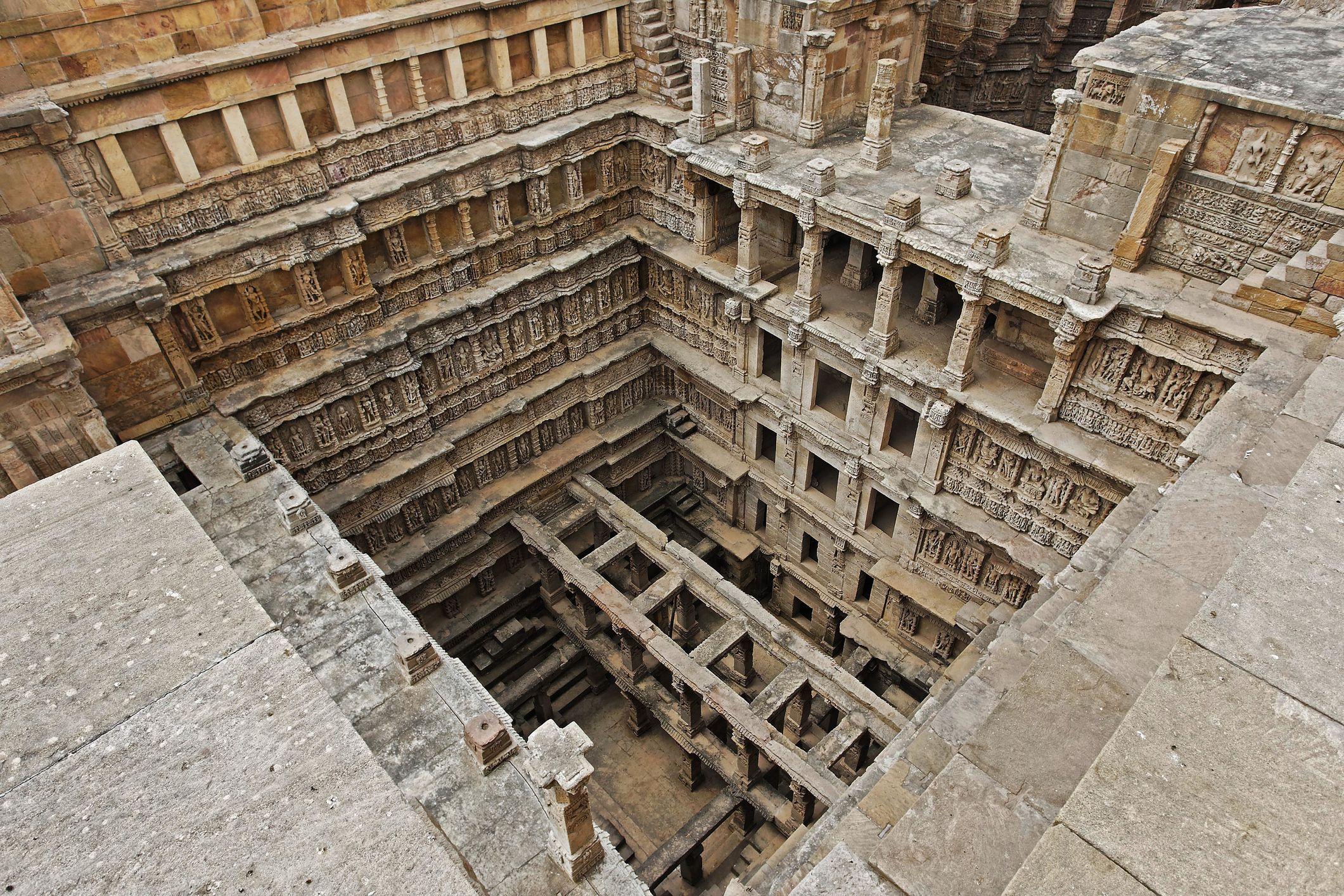 Rani ki vav, step well, stone carving, Patan, Gujarat, India