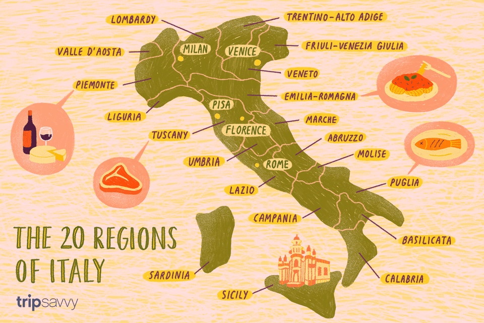 Provincial Map Of Italy.Map Of The Italian Regions
