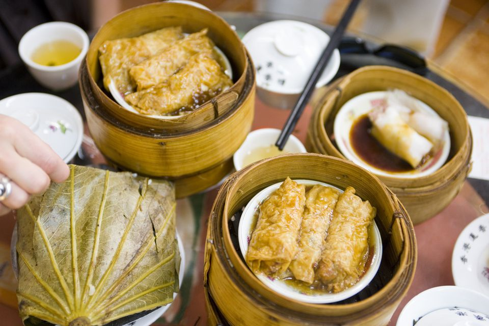 An arrangement of dim sum on a table.