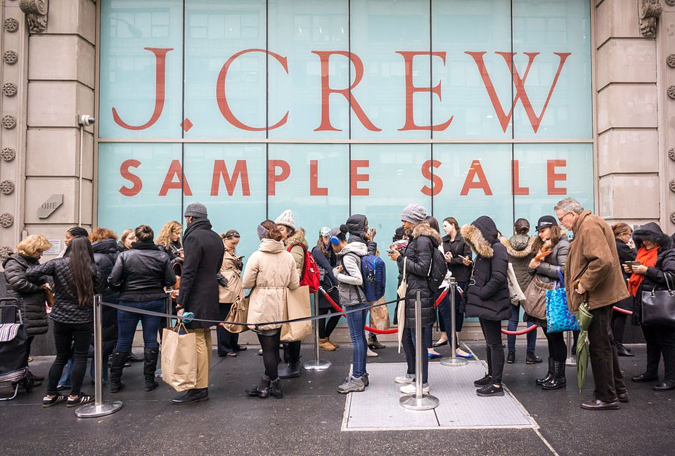 A line outside of a J. Crew sample sale.