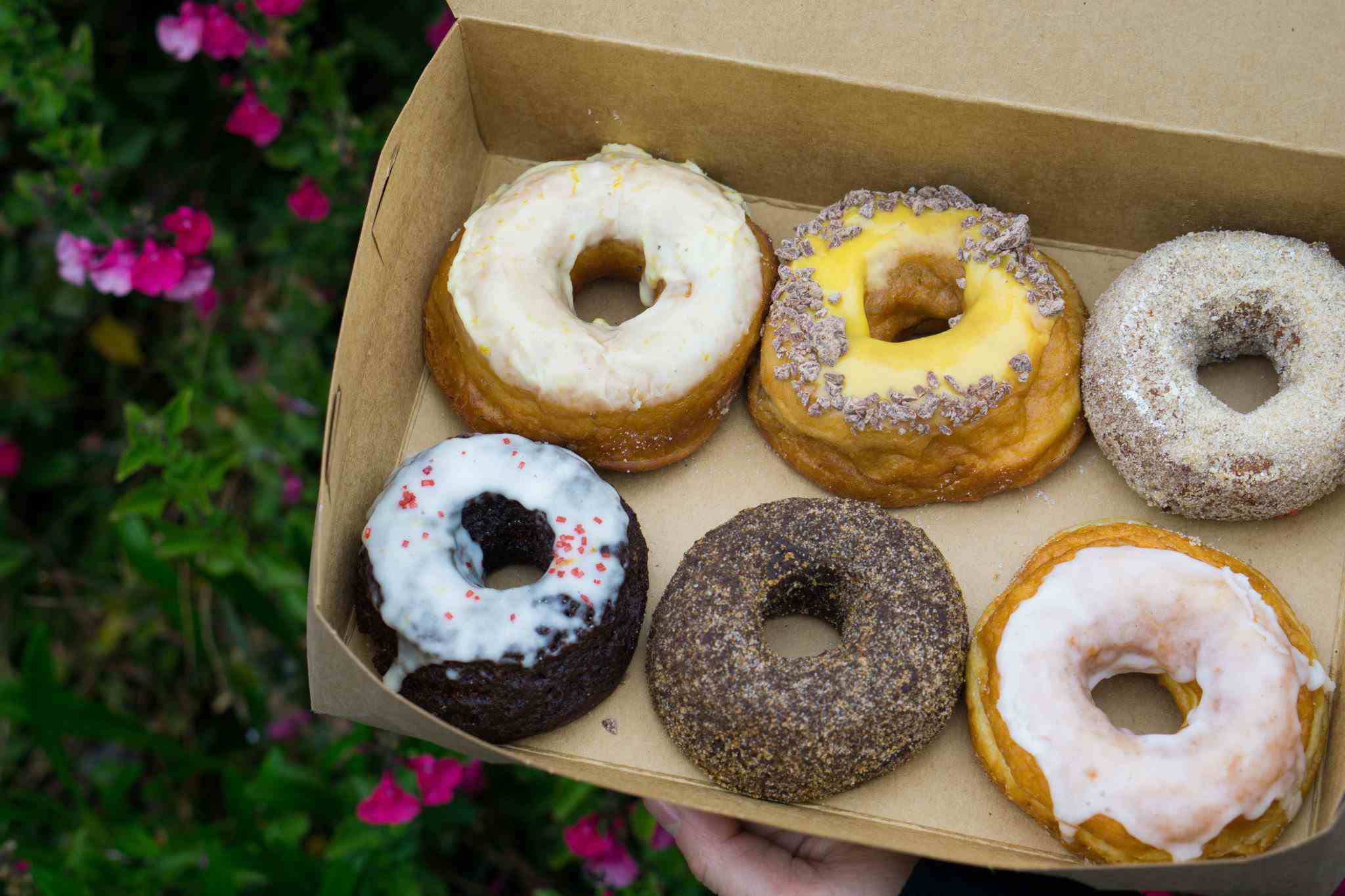 box of six donuts from Dynamo Donut + Coffee in San Francisco