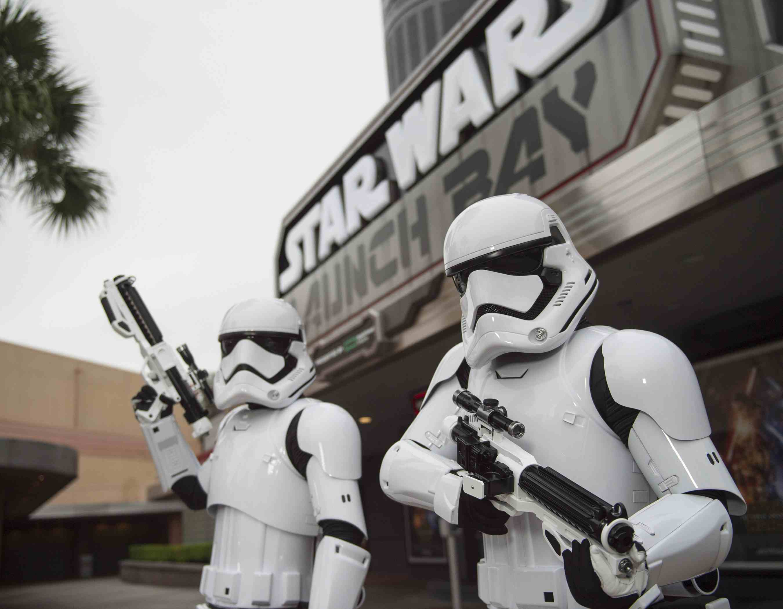 Stormtroopers outside Star Wars Launch Bay
