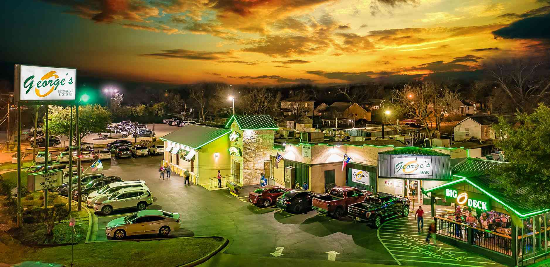 View of the Original George's Restaurant at sunset in Waco