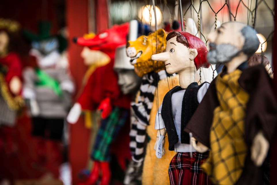 Puppets for sale at Budapest Christmas Market