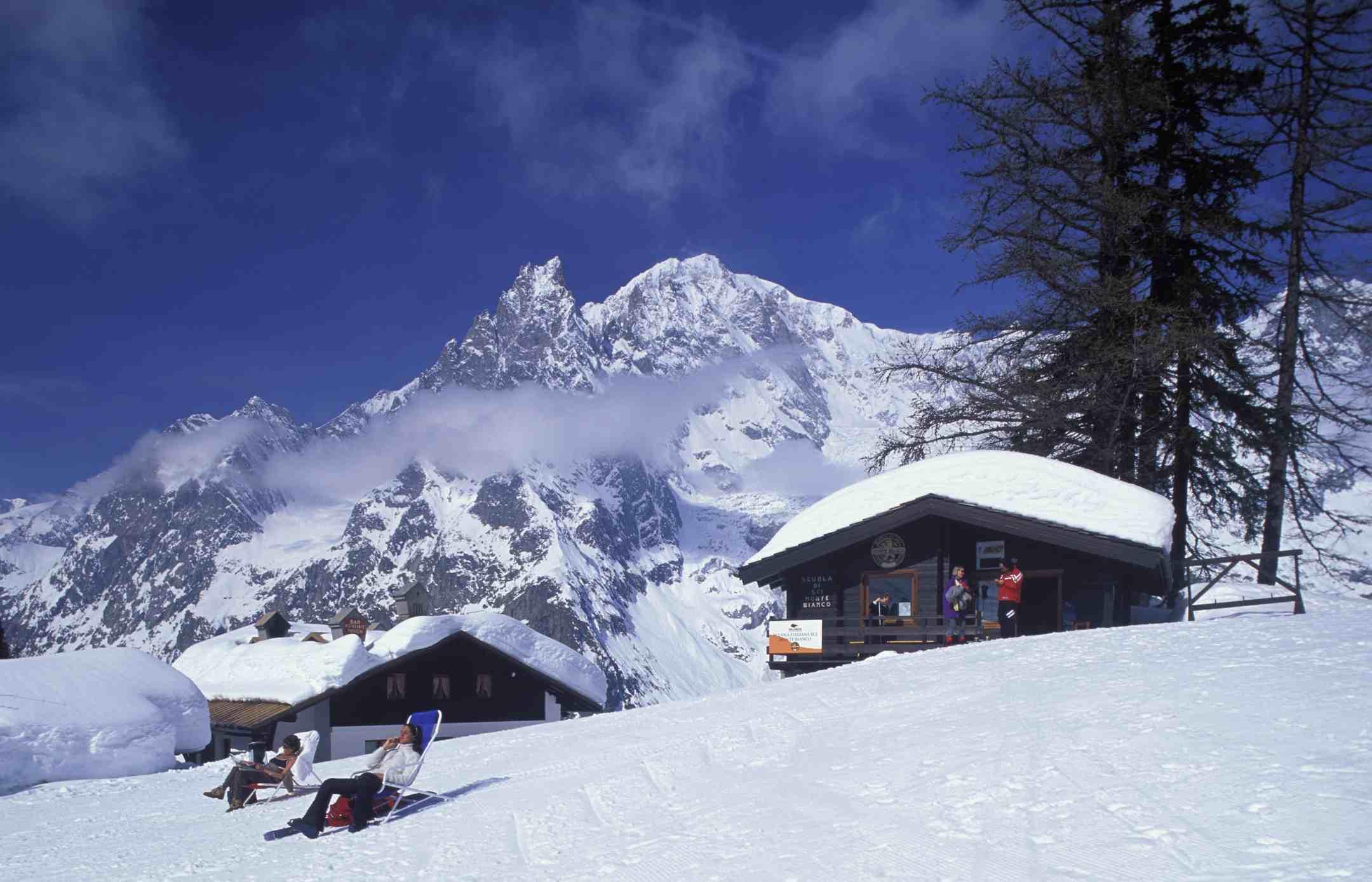 People Relaxing near Pre de Pascal at Courmayeur Ski Resort