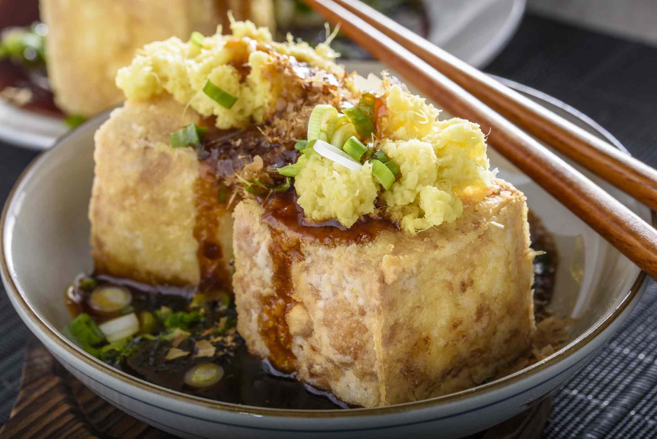 Agedashi, Deep Fried, Tofu with Ground Ginger , Scallion and Soy Sauce