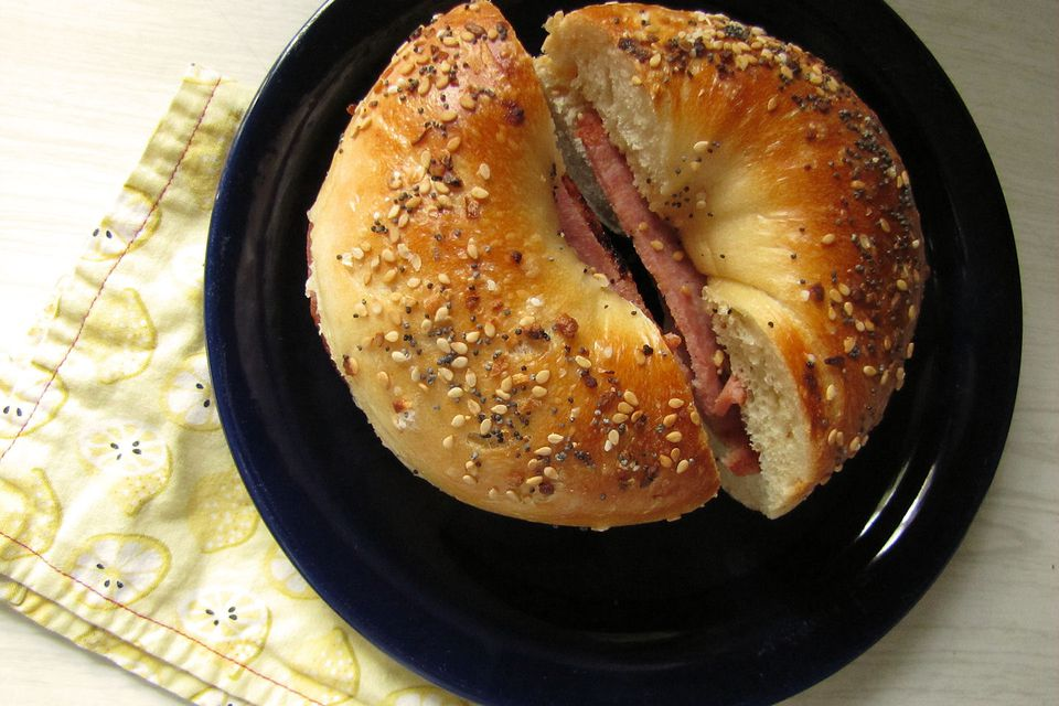 Taylor Ham on an Everything Bagel