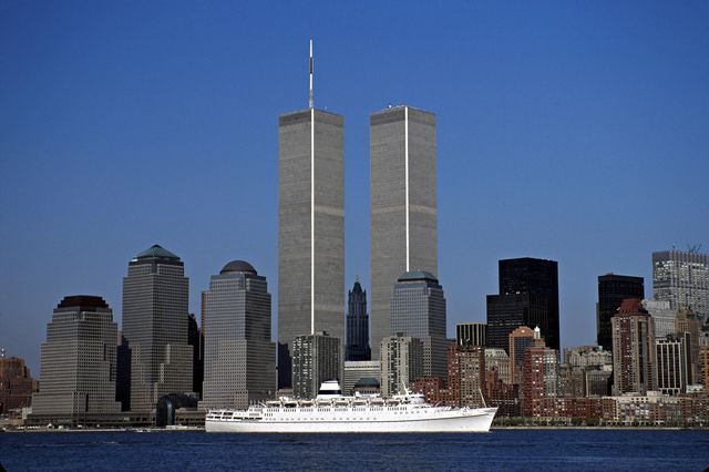 World Trade Center Twin Towers and the New York City Skyline before the 9/11 terrorist attack