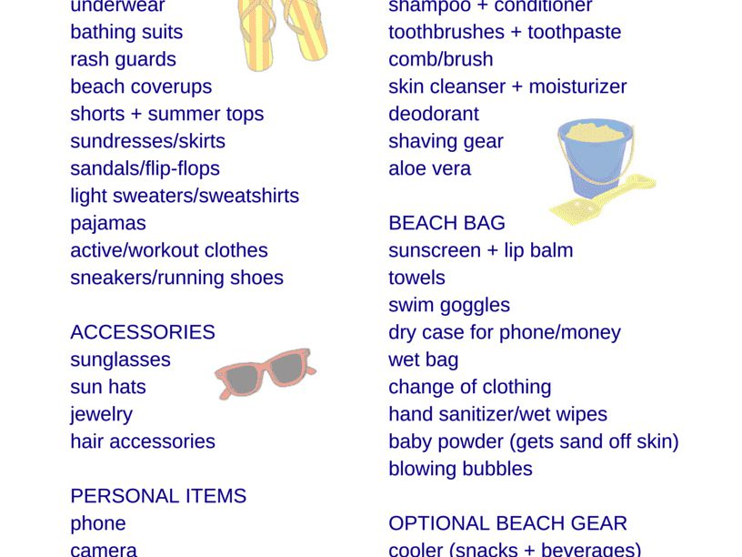 Free Printable Packing List For Family Beach Vacations