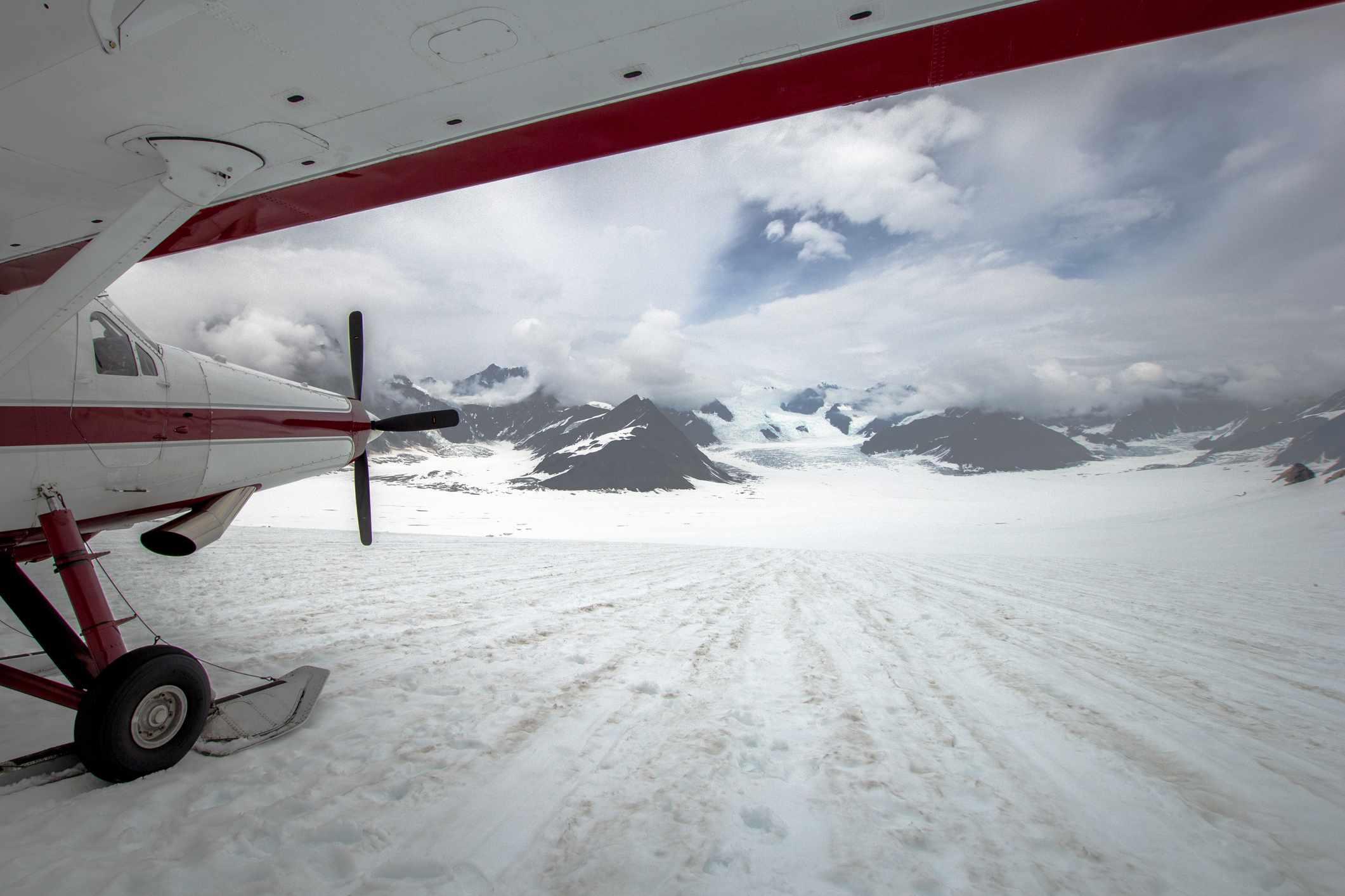 An air taxi on a glacier