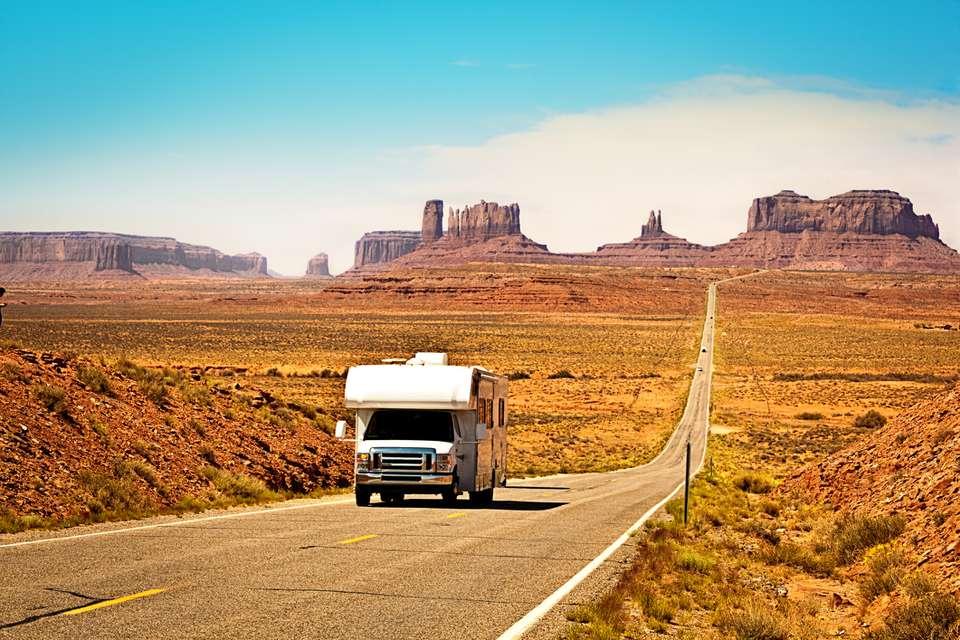 RV driving in desert