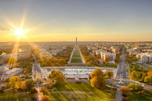 Autumn sunset over National Mall as seen from top of US Capitol, Washington DC, USA