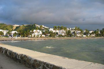 View of Esmeraldas Ecuador and beach from a pier