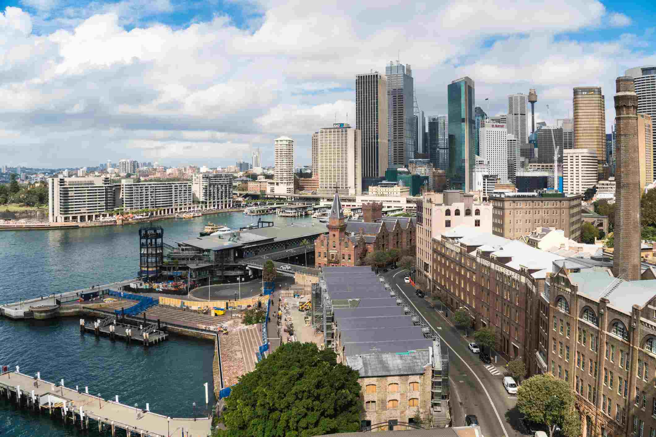 Aerial view of the rocks, Circular Quay and the Sydney Downtown district skyline by the Sydney harbor in Australia largest city.