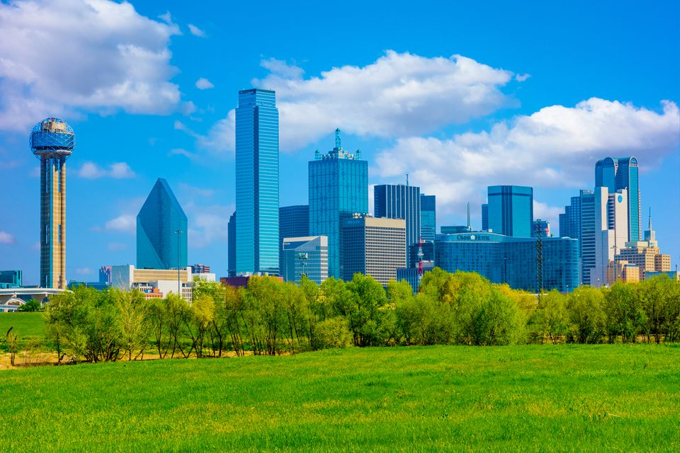 Springtime Dallas skyline, Texas