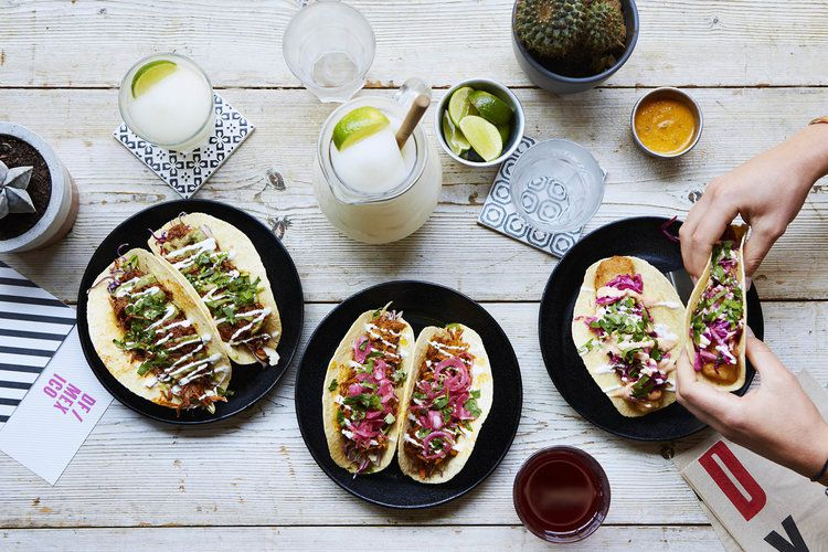 Plates of tacos from DF Tacos