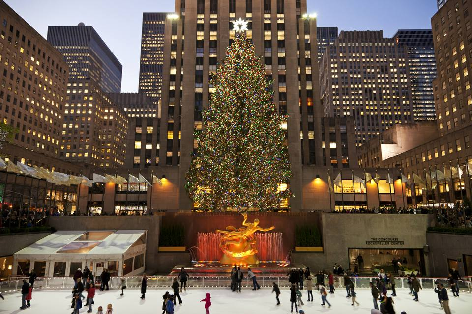 Rockefeller Center Ice Skating Rink and Christmas tree.