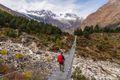 Suspension bridge in Manaslu circuit trekking route, Himalaya mountains range in Nepal