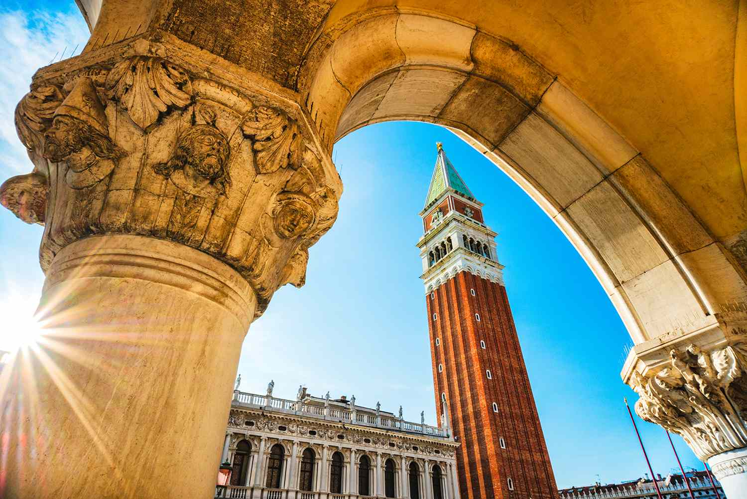 Angled shot of the Piazza de San Marco in Venice, Italy