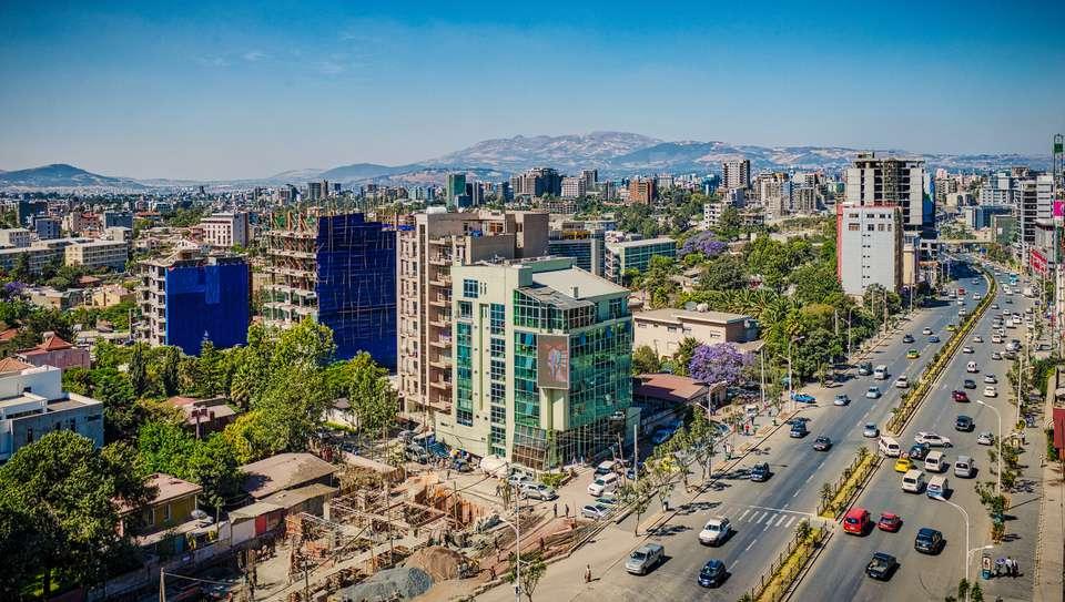 Vista elevada de Addis Abeba, Etiopía