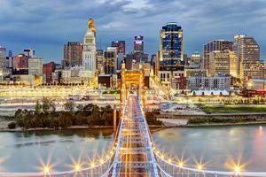 Cincinnati skyline from atop Roebling Bridge