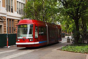 Red Portland Streetcar going through town
