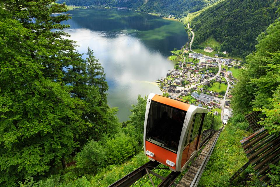 A cable car taking visitors up to Salzwelten; one of the oldest salt mines in the world located in Hallstatt, Austria.