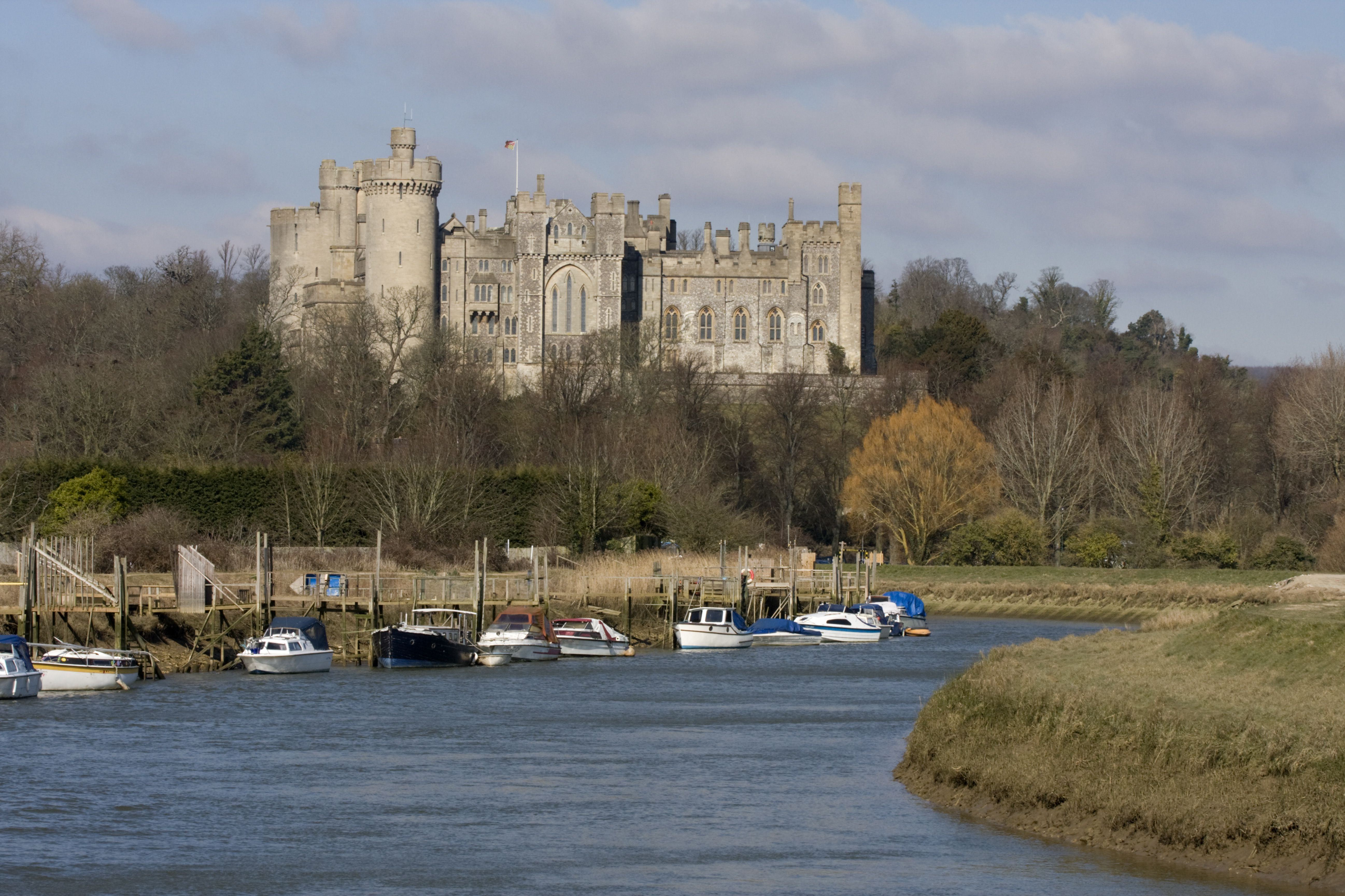 Arundel Castle and River Arun, West Sussex, England, United Kingdom, Europe