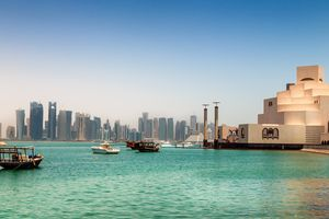 Skyline of Doha, Qatar On the right the museum of islamic art
