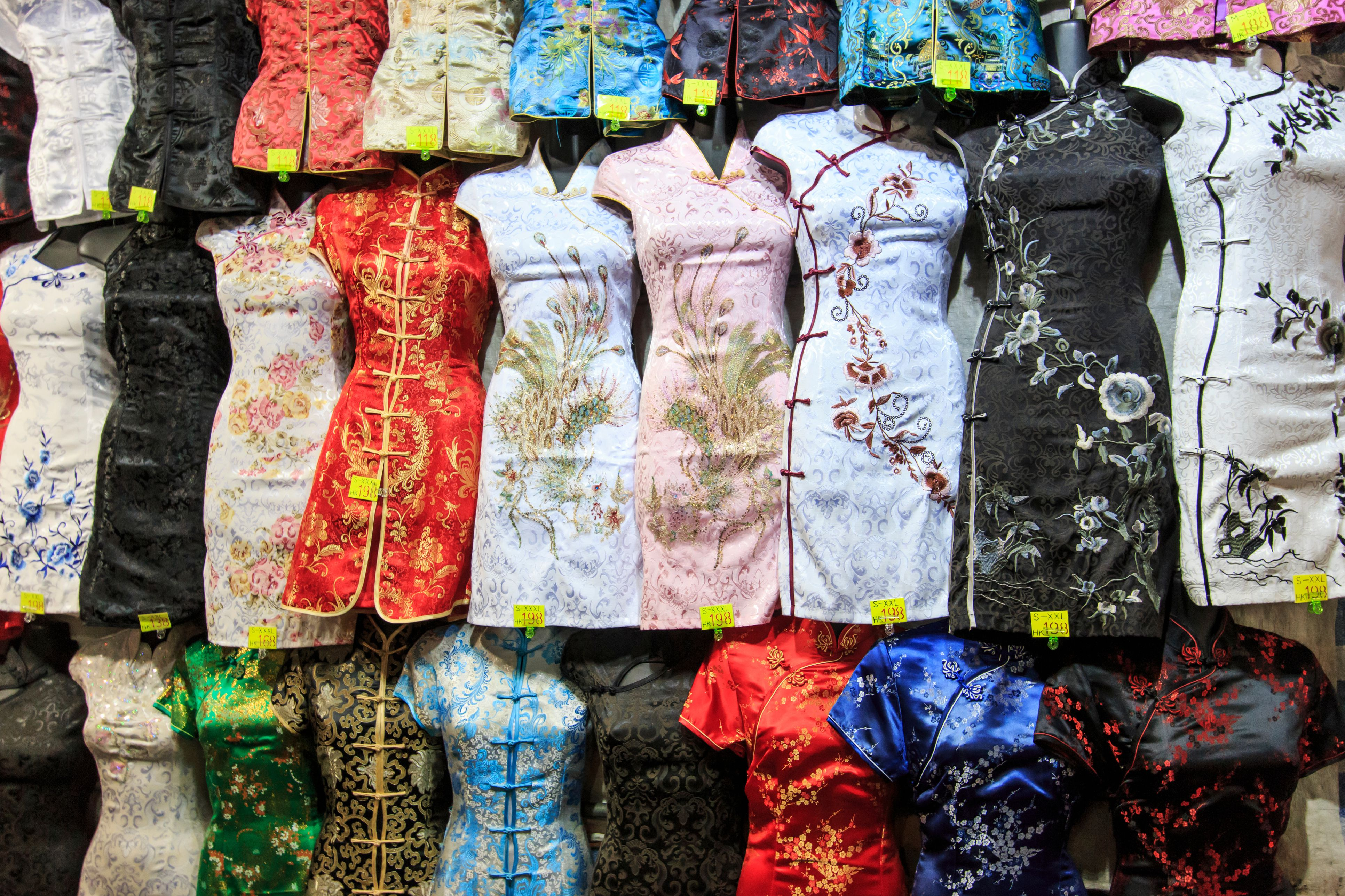 Full Frame Shot Of Traditional Clothes Hanging At Market For Sale