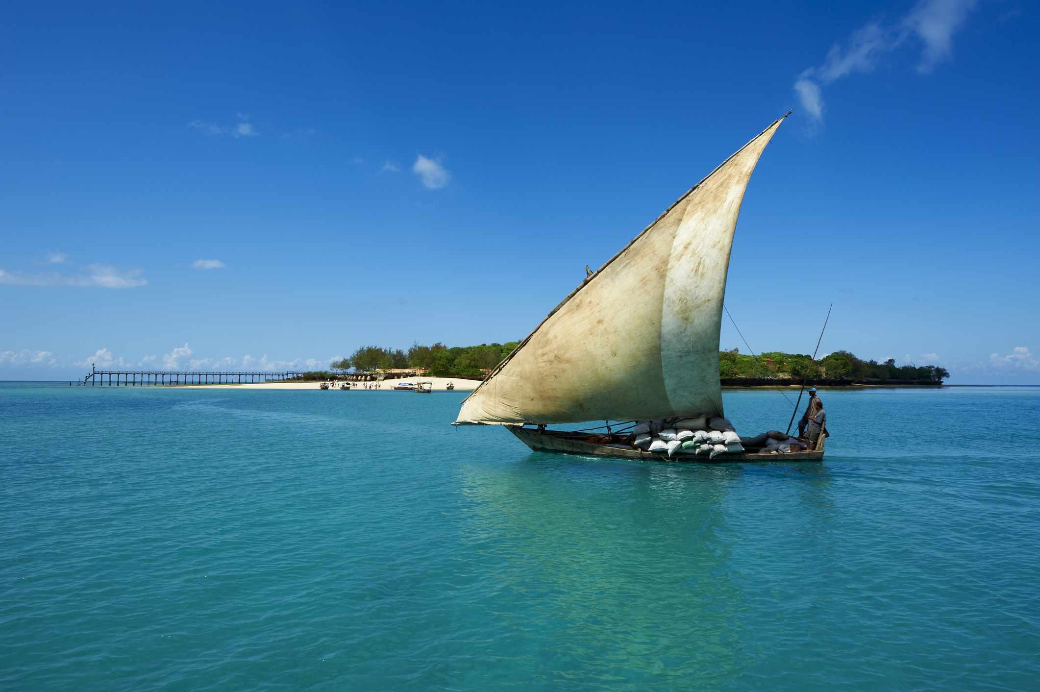 Dhow passing in front of Prison Island, Zanzibar