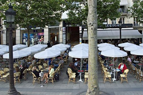 One of the busiest spots in Paris for sipping cafe au lait