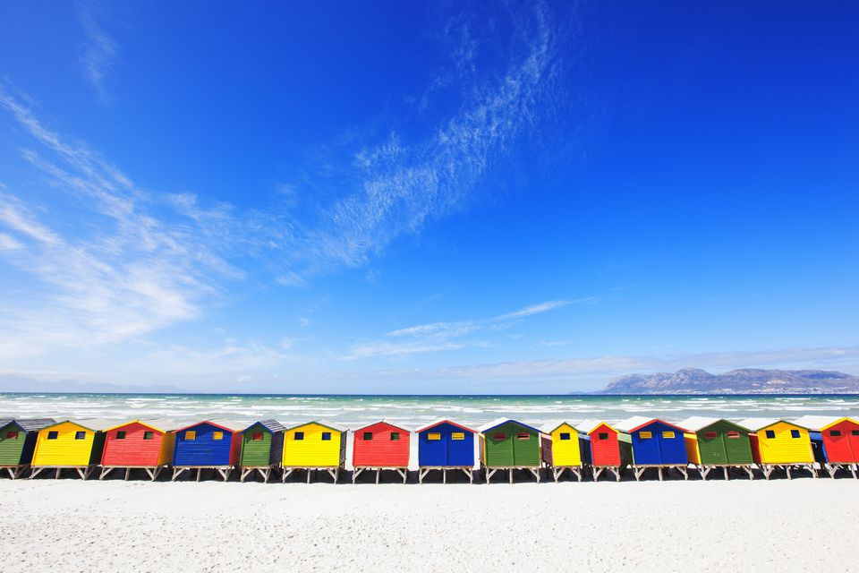 Colourful beach huts at Muizenberg Beach, Cape Town.