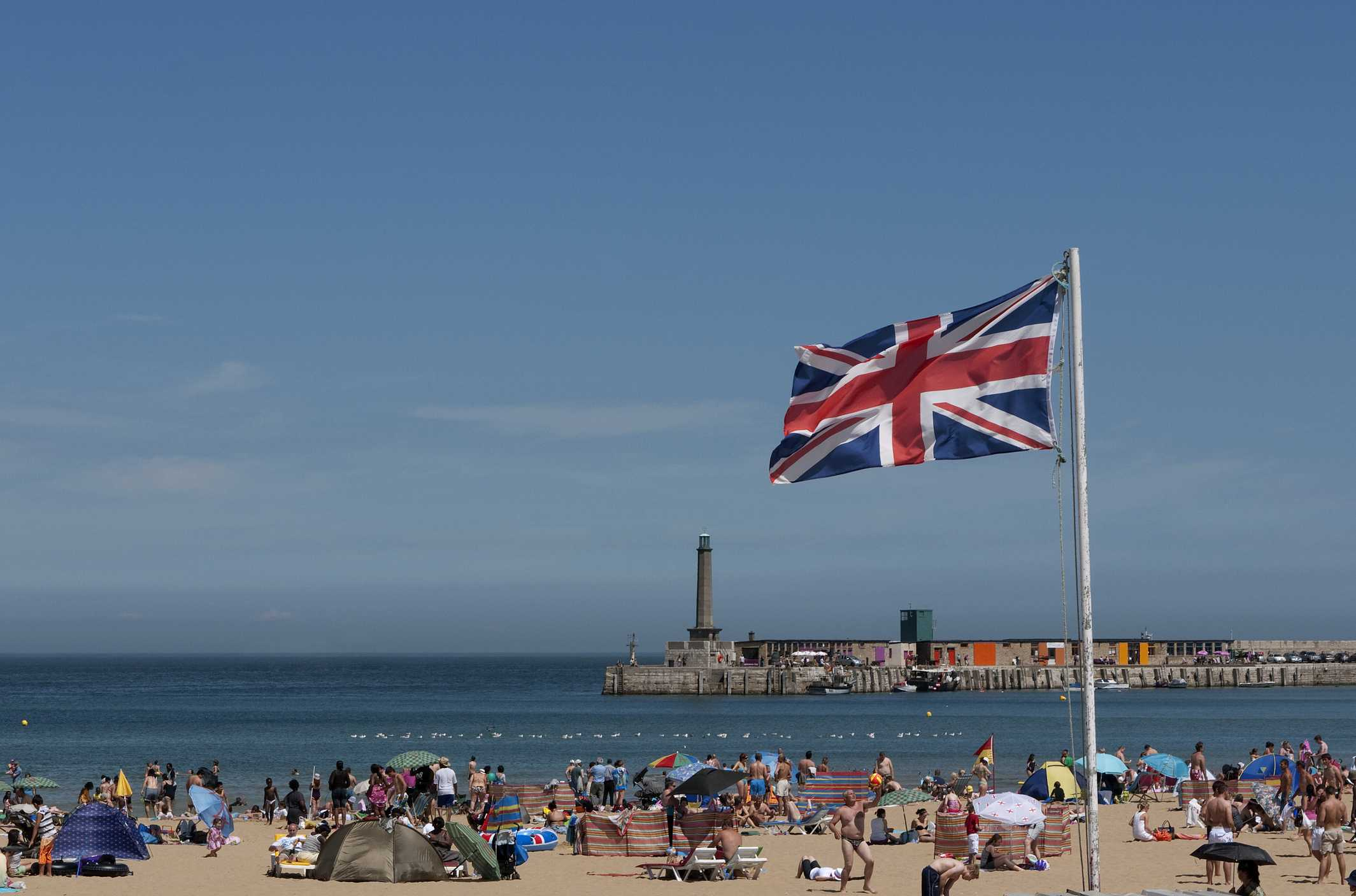 A busy summer's day on Margate beach.