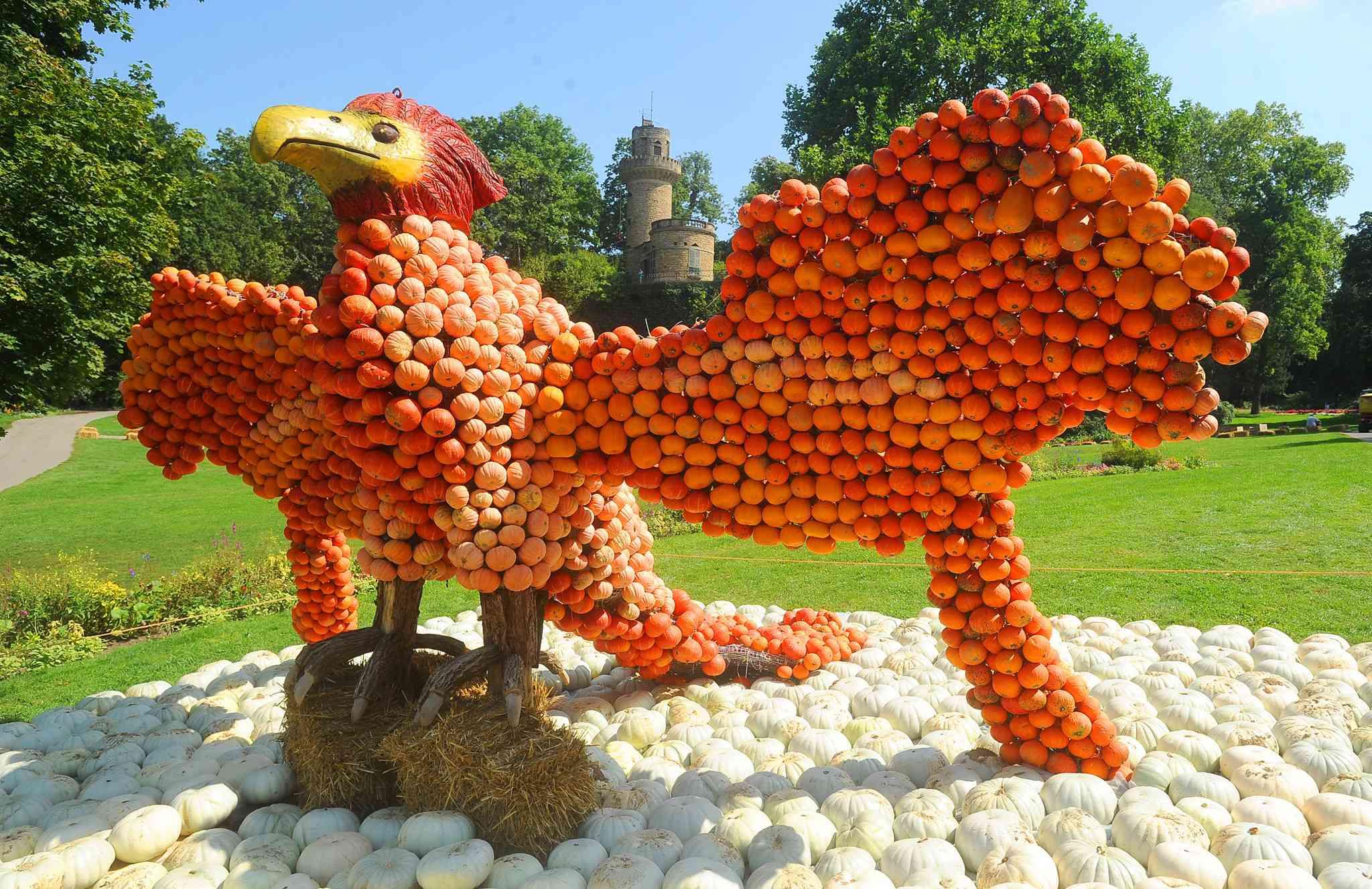 Sculpture of a bird made out of pumpkins