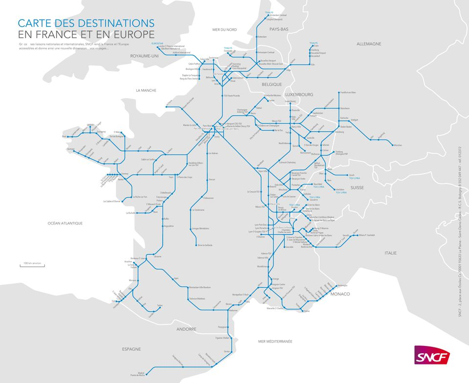 Paris Europe Map.Map Of Tgv Train Routes And Destinations In France