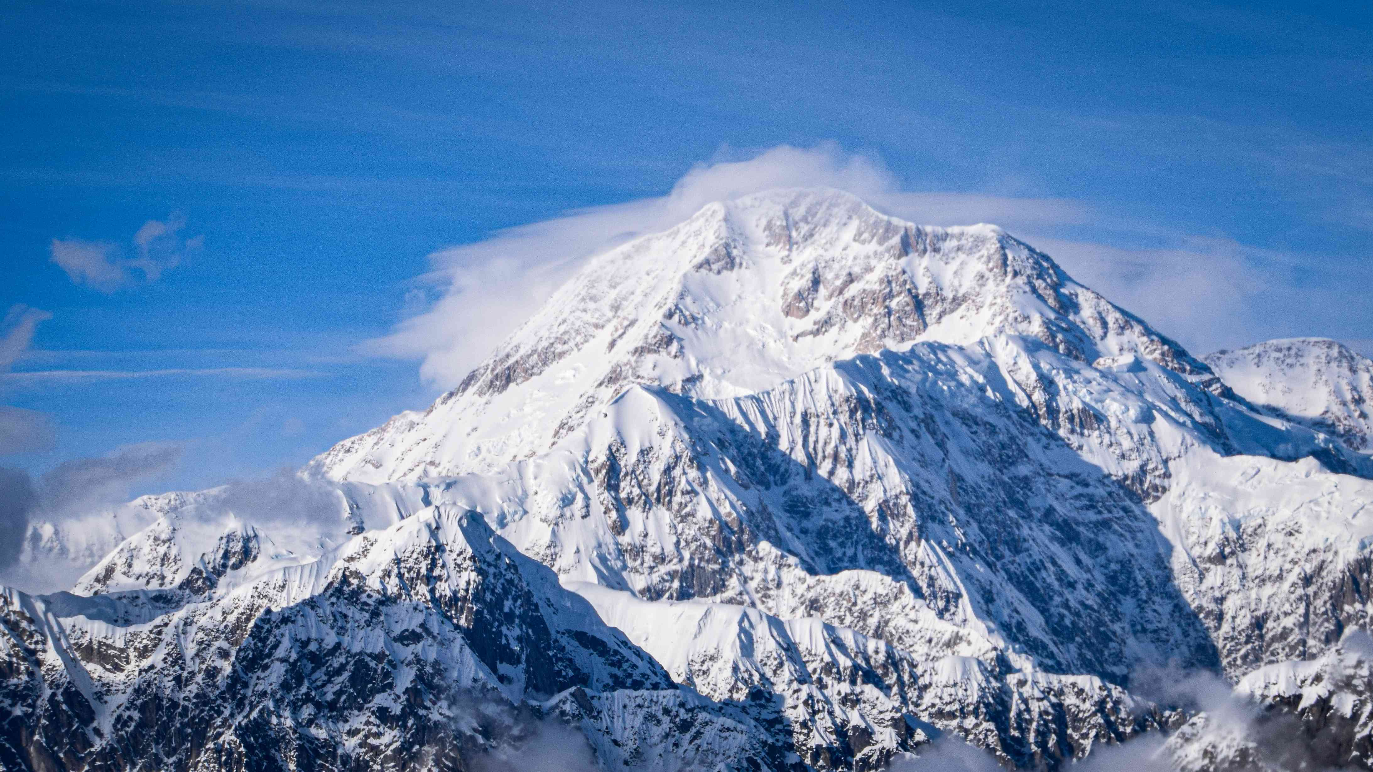 View of snow covered Mount Mckinley in Denali National Park